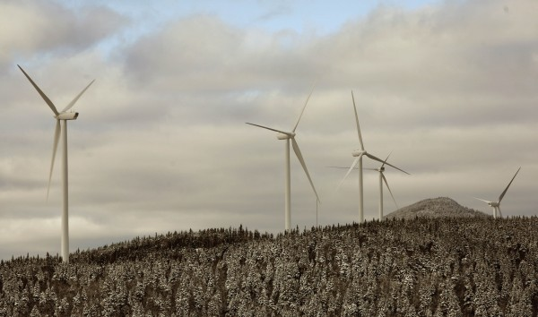 Turbines stand along the Kibby Mountain Range in remote Franklin County in this Associated Press file photo.
