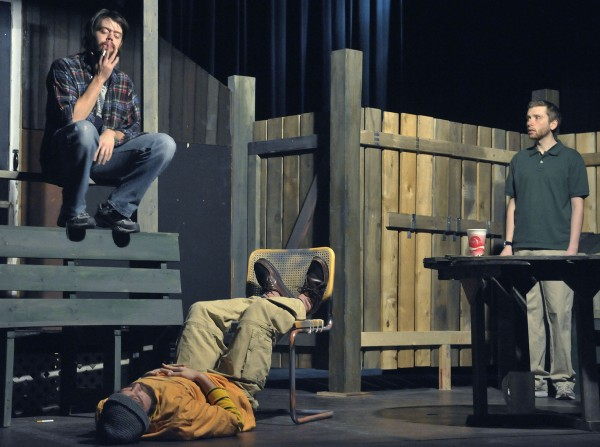 A bewildered Evan (Chris Bellant, right) tries to deal with transients Jasper (Danny Jones, left) and KJ (Josh Bywater, center) in the production &quotThe Aliens&quot at the Stonington Opera House, Jan. 19, 2012.