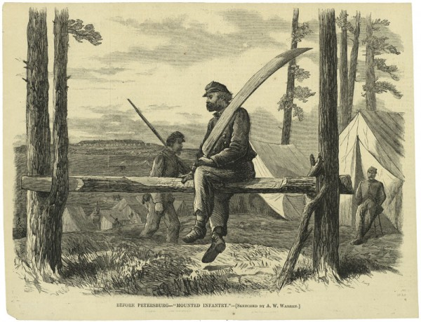 "After committing an offense, a Union soldier undergoes punishment by ""riding"" on a long beam called a ""mule."" He is also holding a heavy, sword-shaped log. The soldier marching behind him is actually guarding the offender."