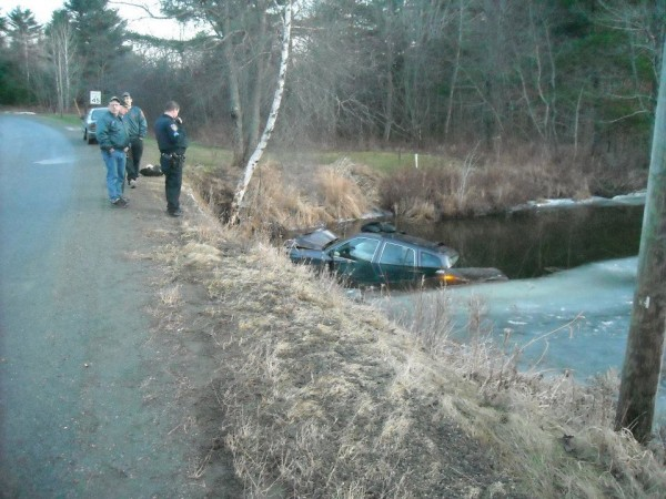 Police officials check out the Kia SUV that plunged into the Goose