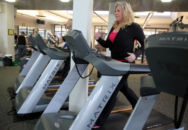 Helen Phillips exercises in Warren, Michigan, in December 2011 as she strives to keep off the weight she lost on her way to winning the TV show &quotThe Biggest Loser.&quot