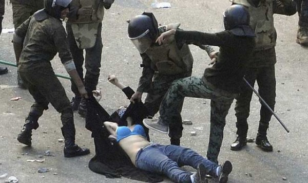 A young Egyptian woman was beaten by the military during a recent demonstration.