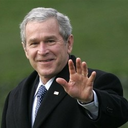 In a Jan. 25, 2007 file photo, President George W. Bush waves as he departs the White House in Washington for a trip to Missouri to speak on health care.  The eight-year Bush presidency has merited no more than a fleeting reference in the current GOP contest for the presidential nomination,