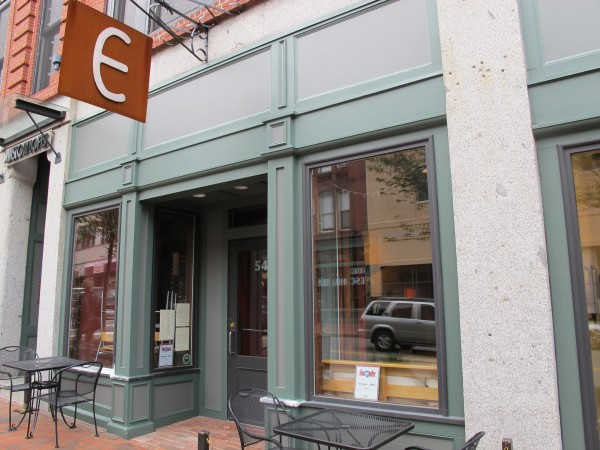 The street view of Emilitsa, a fine dining Greek restaurant on Congress Street in Portland.
