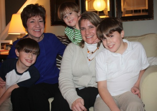 Sen. Susan Collins (second from left) visits with Sarah Smiley and her sons Owen, Lindell and Ford.