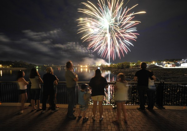 Spectators take in Fourth of July fireworks on Bangor's waterfront in 2010.