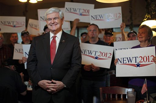 Republican presidential candidate and former House Speaker Newt Gingrich takes part in a TV interview during a campaign event at the Grapevine Restaurant in Spartanburg, S.C., on Saturday, Jan. 21, the unpredictable voting day of the South Carolina presidential primary.