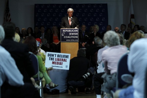 Republican presidential candidate Newt Gingrich speaks during a Republican Jewish Coalition rally at the South County Civic Center, Friday in Delray Beach, Fla.