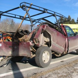 Ellsworth woman, 3-year-old boy uninjured as car collides with snowplow