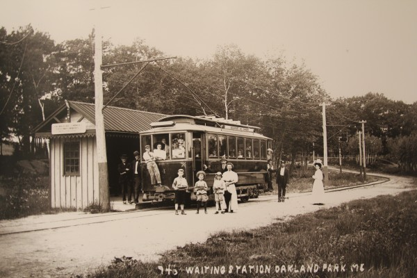 Several people load into the trolley at Oakland Park in Rockport in this undated photograph. The trolley and railway ran from 1892 to 1931. Passengers paid 5 cents to ride. The photo is one of many in an exhibit of old postcards at Camden Public Library. The show opens Jan. 12.
