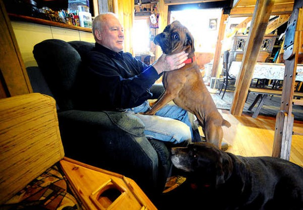 &quotHe has no concept of personal space,&quot Carl Willing said as Bo, the 6-month-old boxer puppy he and his wife, Alison, adopted from the Greater Androscoggin Humane Society on Saturday, climbed into his lap at their Temple home.