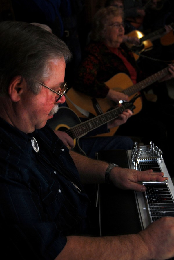 Ron Riens of Glenburn (left) is among a dozen musicians who play at the Knights of Columbus Music Jams held alternate Wednesdays at the Knights' hall in Lincoln.