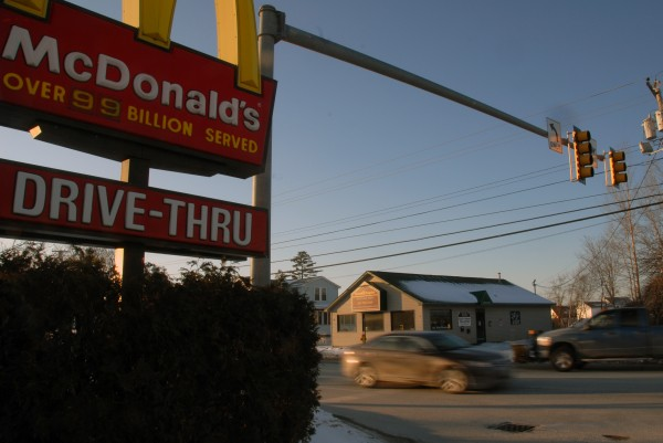The McDonald's restaurant on West Broadway in Lincoln will be totally rebuilt if the Lincoln Planning Board approves a permit for the work. The intersection was sparsely driven on Sunday, Jan. 15, 2011.