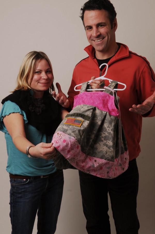 Jodi Ferro (left) makes little girls dresses from her boyfriend, Chris Sheehan's, old military uniforms.