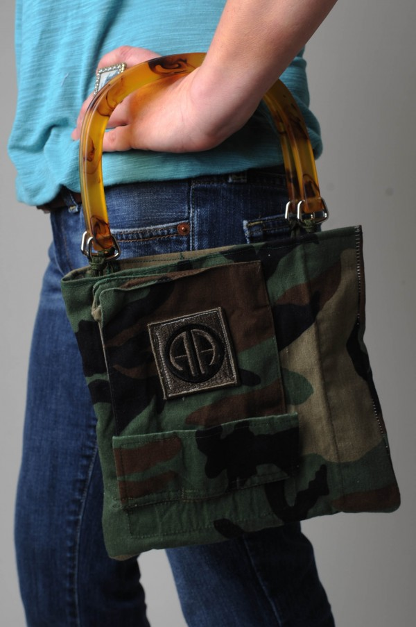 Jodi Ferro of Belfast makes dresses and handbags from old military uniforms.