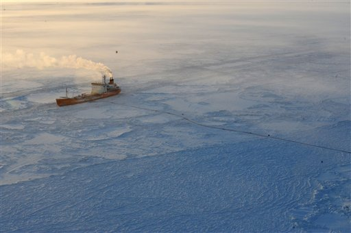 the Russian tanker Renda sits just off the coast of Nome with two fuel transfer hoses running to a causeway in the Nome harbor Monday Jan. 16.