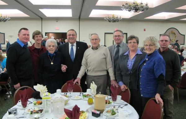 The Shaw family with Governor Paul LePage and Agriculture