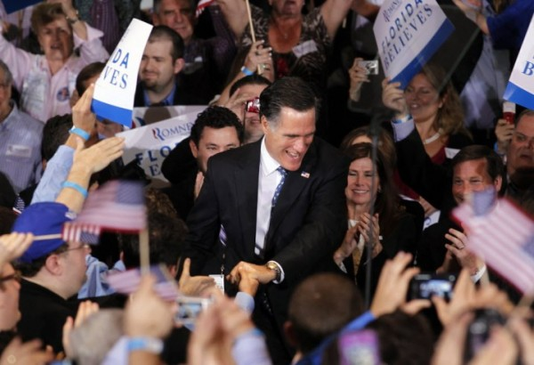 Republican presidential candidate, former Massachusetts Gov. Mitt Romney, greets supporters at his Florida primary primary night rally in Tampa, Fla., Tuesday, Jan. 31.