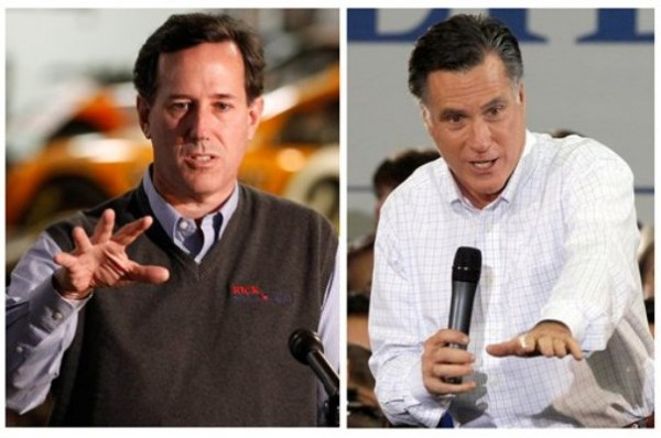 Republican presidential candidates, former Pennsylvania Sen. Rick Santorum, left, and former Massachusetts Gov. Mitt Romney speak during recent campaign stops in Iowa.