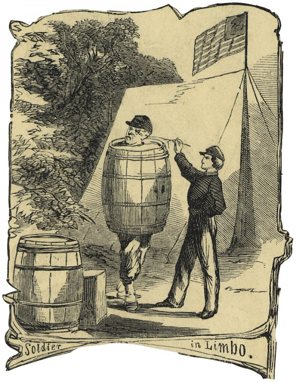 "In this Harper's Weekly illustration titled ""Soldier in Limbo,"" a Union soldier parades around his camp while confined inside a large, wooden barrel. The soldier has committed a punishable offense; the thoughts crossing his mind as he is prodded by the stick-wielding martinet are only imaginable."