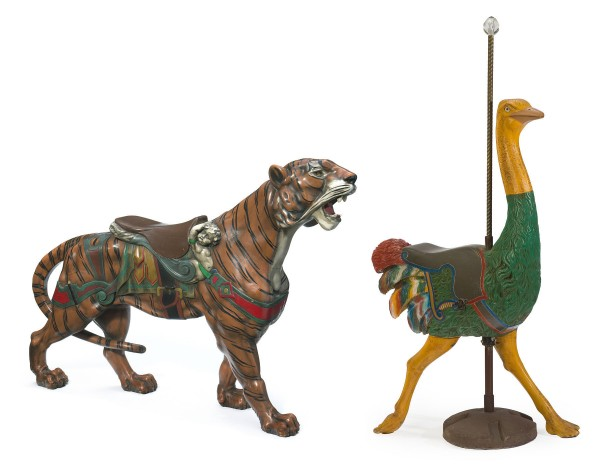 The circa 1905 fine and rare painted carousel tiger brought $45,000 in a recent sale at Bonhams Los Angeles. The carousel ostrich sold for $5,200.