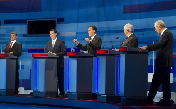 Republican presidential candidates, from left to right: Texas Gov. Rick Perry; former Pennsylvania Sen. Rick Santorum; former Massachusetts Gov. Mitt Romney; former House Speaker Newt Gingrich; and Rep. Ron Paul, R-Texasm take part in the South Carolina Republican presidential candidate debate Monday, Jan. 16, in Myrtle Beach, S.C.