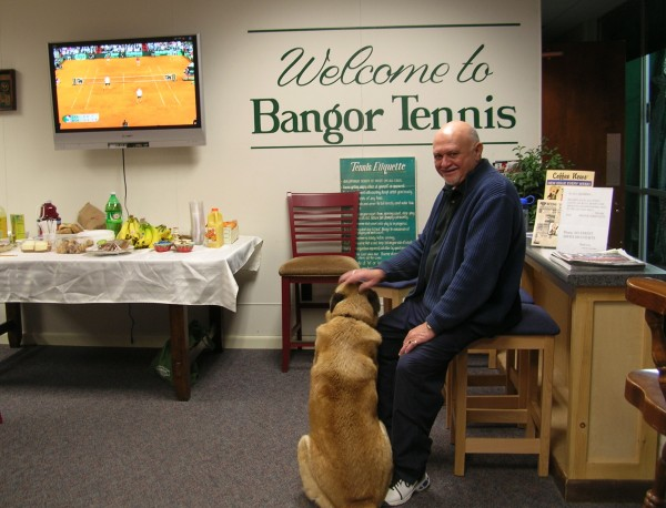 Dean Armstrong and his dog, Chloe, at Bangor Tennis recently.
