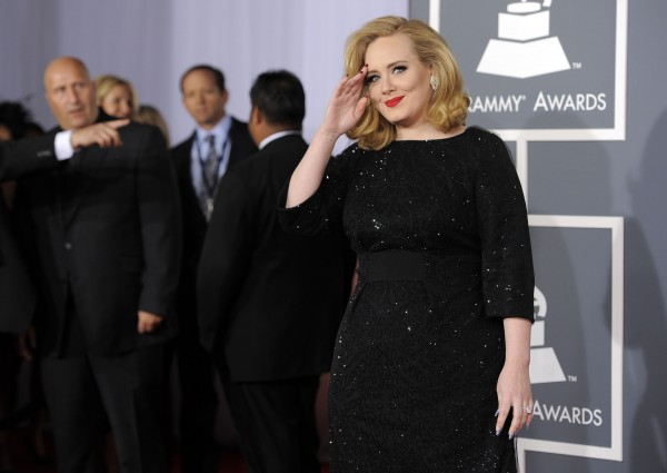 Adele arrives at the 54th annual Grammy Awards on Sunday, Feb. 12, 2012, in Los Angeles.