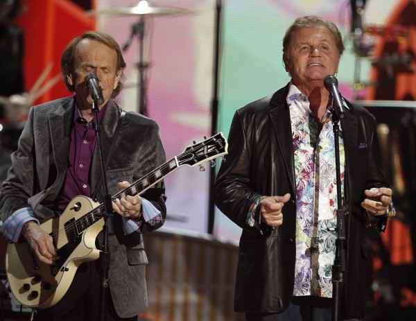 Al Jardine (left) and Bruce Johnston of the band Beach Boys perform during the 54th annual Grammy Awards on Sunday, Feb. 12, 2012, in Los Angeles.
