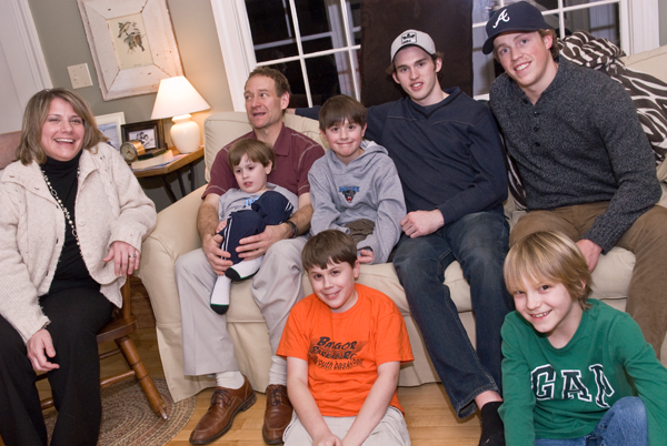 Dinner with the Smileys: Maine Black Bears was a two-day event, starting with a Maine Hockey game one night and dinner with Coach Tim Whitehead, his son Zach, players Nick Pryor (#71) and Kyle Beattie (#21), plus Robin Smiley, the Smiley boys' grandmother.