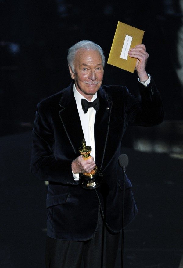 "Christopher Plummer accepts the Oscar for best actor in a supporting role for ""Beginners"" during the 84th Academy Awards on Sunday, Feb. 26, 2012, in the Hollywood section of Los Angeles."