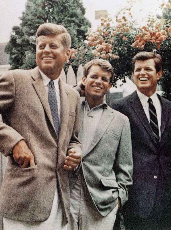 This undated file photo shows the Kennedy brothers, John F. Kennedy (from left), Robert Kennedy and Ted Kennedy in Hyannis Port, Mass.