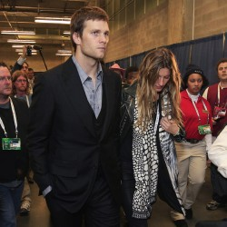 Brady's wife Bundchen causes stir at Super Bowl from afar