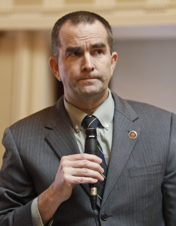 State Sen. Ralph Northam, D-Norfolk, the senate's only doctor, grimaces as he speaks during debate on a bill requiring an ultrasound before an abortion on the floor of the Senate at the Capitol in Richmond, Va., Tuesday, Feb. 28, 2012.
