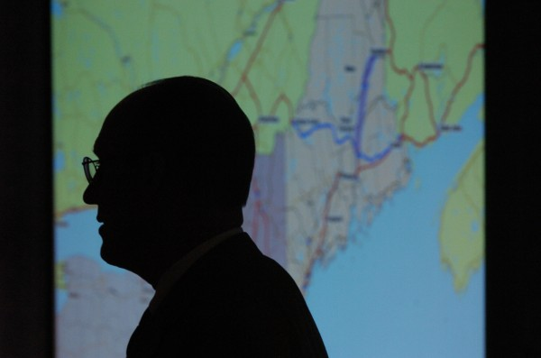 Peter Vigue, CEO of Cianbro, discusses the benefits of having an East-West Highway while taking the podium at the Access Atlantica confrence in Orono in August 2007.