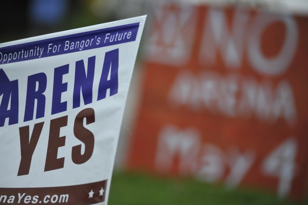 Arena signs, both pro and con, lined Dutton Street as voters turned out Wednesday, May 4, 2011, to cast their ballot on whether to replace Bangor Auditorium with a proposed $65 million arena.