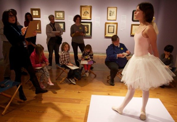 Emma Rose Schwartz, 12, strikes a famous pose at the Portland Museum of Art Thursday Feb. 23, 2012. Artists of all skill levels were invited to the museum to sketch Maine State Ballet Dancers, just as Edgar Degas did in 19th century France, to celebrate its current Degas exhibition and the ballet's upcoming production of Swan Lake.