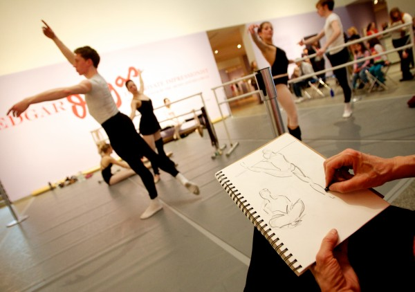 Patricia Voss sketches moving dancers at the Portland Museum of Art Thursday Feb. 23, 2012.