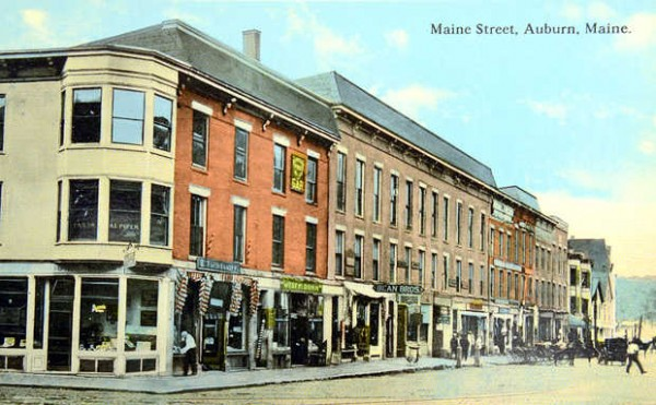An old postcard shows the Bean Brothers clothing store on Main Street in Auburn, the current site of Gritty's Brew Pub.