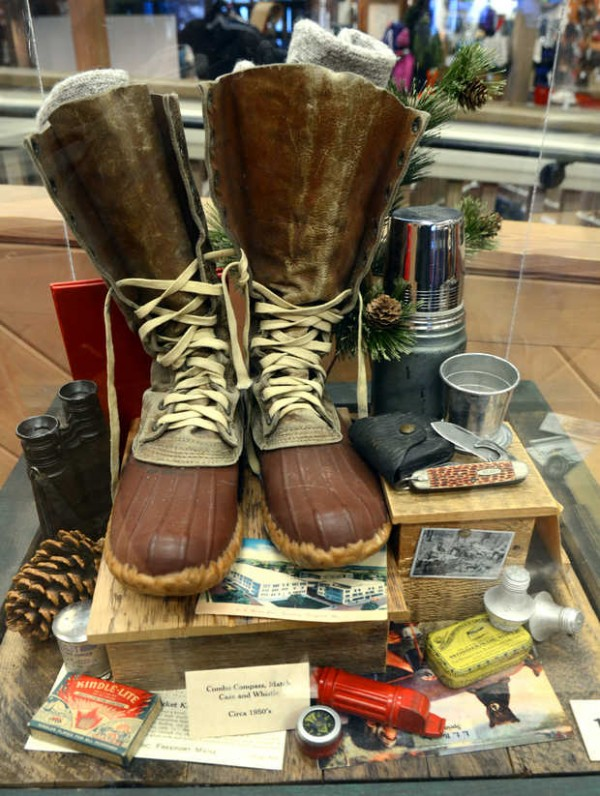 One of many display cubes throughout the store in Freeport featuring L.L. Bean products from the past.