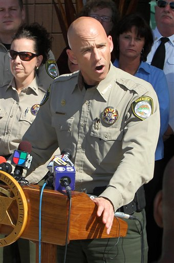 Pinal County Sheriff Paul Babeu speaks at a news conference, Saturday, Feb. 18, 2012 in Florence, Ariz. Babeu, a sheriff seeking the GOP nomination for an Arizona congressional seat, has been forced to confirm he is gay amid allegations of misconduct made by a man with whom he previously had a relationship.