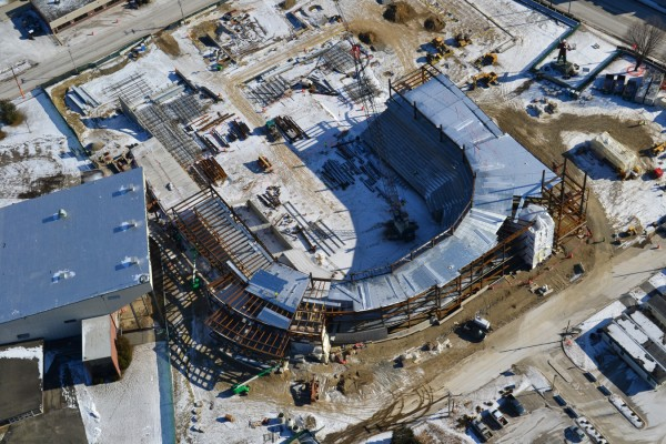 Aerial photo of Bangor arena progress on Monday, Feb. 13, 2012.