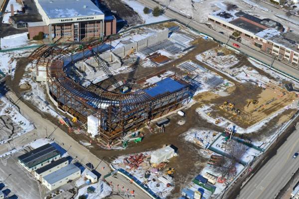 Aerial photo of Bangor arena progress on Feb. 5, 2012.