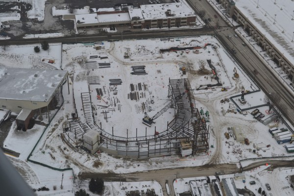Aerial photo of Bangor arena progress on Saturday, Jan. 21, 2012.