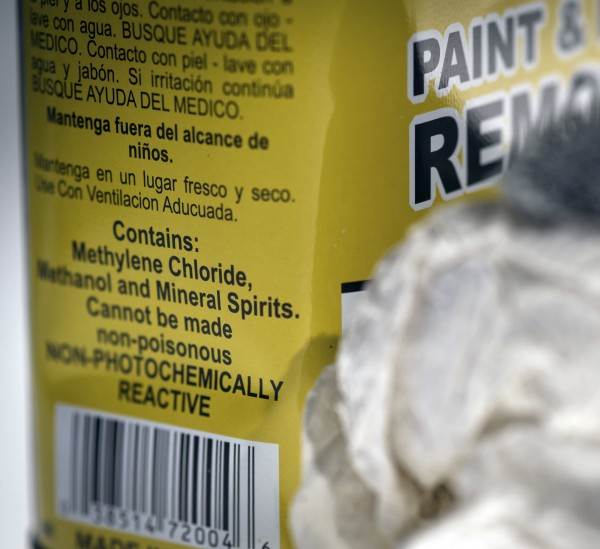 This Feb. 23, 2012 photo released by Michigan State University in East Lansing, Mich., shows the label on a product containing the chemical methylene chloride, used as a paint-stripper and degreaser. The university''s research led to the discovery of 13 deaths linked to use of the chemical by workers who were refinishing bathtubs. The U.S. Centers for Disease Control and Prevention issued a warning Thursday about the danger of methylene chloride-based products in enclosed spaces such as bathrooms.