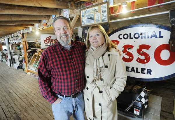 Jim and Kathy Harris of Lisbon Falls stand in their barn where Mike Wolfe and Frank Fritz of the History Channel's &quotAmerican Pickers&quot visited during one of their episodes.