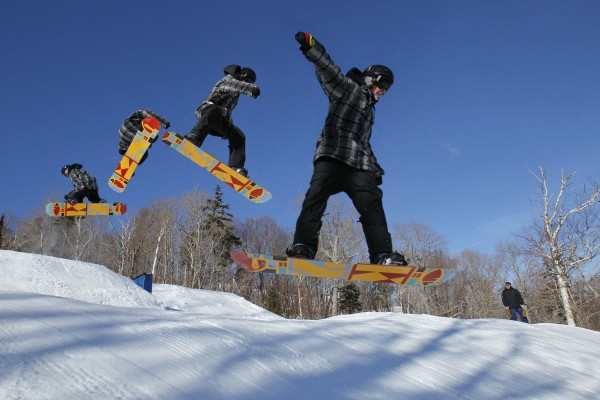 9:47 AM - A composite image shows the revolution made by snowboarder Stephen Just, of Ellsworth, as he catches some air off a jump while training in the terrain park at Sugarloaf.