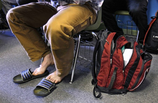 3:18 PM - Sam Morse wears flip flops and totes a heavy book pack. CVA &quotis casual in that you may see a kid go to class in his slippers. That's fine as long as he's pushing himself academically and is a good community member,&quot said Kate Punderson, head of school.