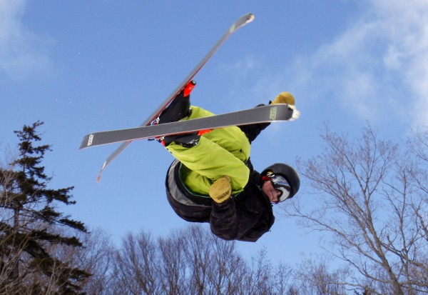 11:31 -  Zack Carrier, a park and pipe rider from Scarborough, Maine, performs a trick off a jump at Sugarloaf.