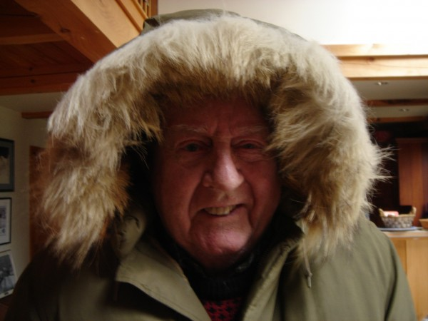 Paul Dalrymple wears the parka he wore while at the South Pole in 1958.